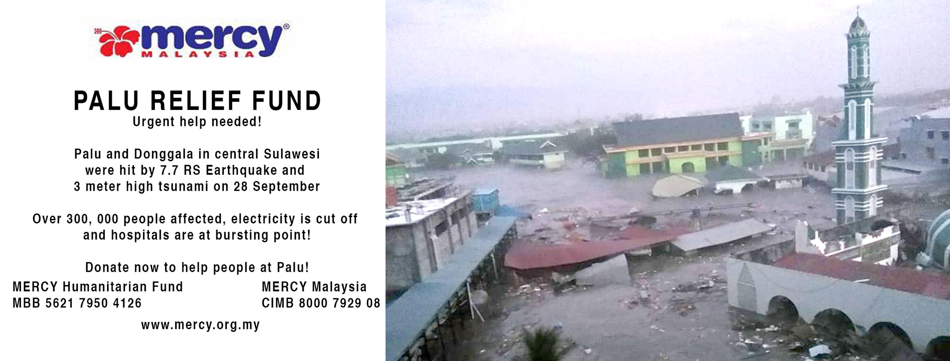 Image result for sulawesi tsunami infografik mercy malaysia
